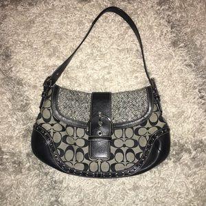 COACH black and grey saddle bag